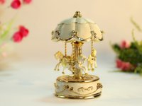 beautiful music boxes - music box musical box The gift to girlfriend or daughter for Christmas or birthday carousel Lovely beautiful small cm cm creamy white
