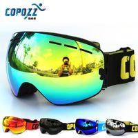 Wholesale New COPOZZ brand professional ski goggles double lens anti fog UV400 big ski glasses skiing snowboard men women snow goggles