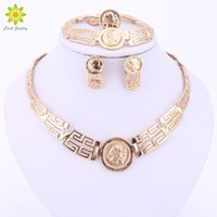 avatar china - African Beads Jewelry Sets For Women Wedding Gold Plated Carved Avatar Pendant Necklace Jewelry Sets Fashion Bridal Accessories