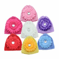 Girl baby crochet flower hat pattern - 2016 Autumn Winter Crochet Headband Pattern Girls Hat Baby Chrysanthemum Hair Caps Warm Kids Hair Band Accessories Tube Hat Flower HT02