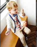 Wholesale New Arrival Baby boy clothing set newborn clothes set Long Sleeve Cardigan Plaid Blouse Long Trousers Spring Kids Clothes
