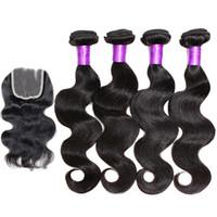 Wholesale Grade A Human Hair Bundle With Lace Closure Wet Wavy Brazilian Body Wave Bundles With Closure Virgin Brazilian Hair Natural Color