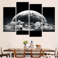 Wholesale Black and white Printed close planets Universe piece painting wall art children s room decor poster canvas No Frame