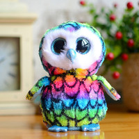 bear things - 10WQ0100 TY Big Eyes Owl Doll Series Rainbow Version Things Christmas Gift Birthday Gift for Children Plush Toy