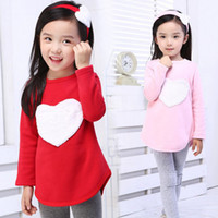 banded collar suits - 2016 Autumn Set Hair Band Shirts Pants Children s Clothing Set Girls Clothes Suits Pink Red Heart