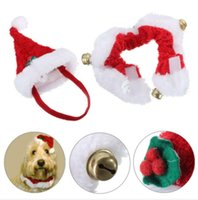 Wholesale Christmas Pet Cat Dog Santa Hat Collar With Bell Christmas Costume Set Great gift for your pets