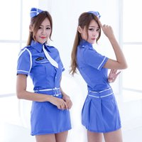 Wholesale sexy lingeries uniform Blue uniforms temptation sailor suit Stage performance uniform policewomen uniform