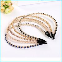Wholesale 5 Colors Fashion Head Wear Girl Women Handmade Crystal Beaded Hair Band Hair Accessories Headwear