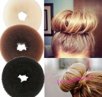 Wholesale Hair Volumizing Scrunchie Donut Ring Style Bun Scrunchy Sock Poof Bump It Snooki Hair Rubber Bands