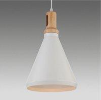 bianco white - Moderna creativa del pendente cono luci infissi e27 in legno di quercia e alluminio nord europa ikea bianco colore simple lampade a sospensi