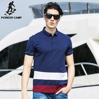 Wholesale Pioneer Camp Men Polo Shirt Cotton Contrast Color Poloshirts Patchwork Brand Clothing Striped Homme Fitness Camisa polo men