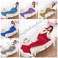 Wholesale Fedex DHL Free Super Soft Hand Crocheted cartoon Mermaid Tail Blanket Sofa Blanket air condition blanket siesta blanket X90cm Z93