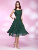 Wholesale 2016 Latest Design Dark Green Party Dresses Short Chiffon Plunge V Necckline Cowl Back Sequins Pleated Bodice Homecoming Dresses