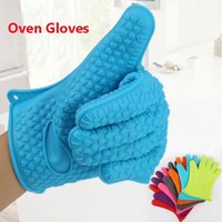 Wholesale Baking Silicone Kitchen Cooking Gloves Microwave Oven Non slip Mitt Heat Resistant Silicone Home Gloves Cooking Baking Oven gloves Holder
