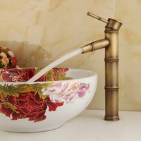 Wholesale New arrival Bathroom Faucet Brass Bamboo Design Faucet Cold Hot Water Tap Single Lever Above Deck Basin Retro High Quality
