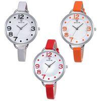 SKONE de naranja linda damas Relojes 2016 del cuero ultrafino de la correa Relogios Femenino manera de las mujeres del reloj de Ocio reloj Mujer
