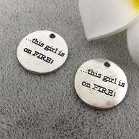 word charms - 25mm quot this girl is on FIRE quot diy handmade word charms tag ancient silver alloy jewelry accessories and materials sales manual carving Pendant