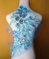 Wholesale 32 cm D blue sequined flower embroidery paillette on blue mesh patch applique for wedding dress clothes decoration DIY