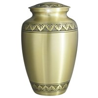 Wholesale Cremation Urn Funeral Urn Brass Hand Engraved Display Urn at Home or in Niche at Columbarium Athena Bronze ADULT URNS