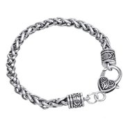 Wholesale Antique Silver Plated Heart Lobster Claw Clasp Wheat Bracelet Heavy Chain cm Length Bulk