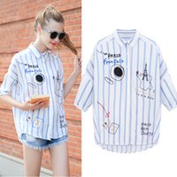 Wholesale Fall new female striped shirt into women s short sleeve shirt jacket loose big yards in the autumn of tide