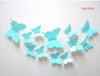 Wholesale Hot set D Butterfly Wall Stickers Butterflies Docors Art DIY Home Decorations Paper Mixed Colors
