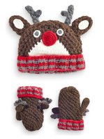 baby winter hats and mittens - Baby Kids Deer Shape Hats Mittens Set Hand Crochet Children Winter Accessories Boys Girls Plus Fleece Beanies and Mittens Pieces Set