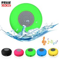 Wholesale FELIZCOCHE6 Colors Waterproof Wireless Bluetooth Speaker Car Handsfree Portable Subwoofer Call Music Suction Mic For IOS Android Phone A1220