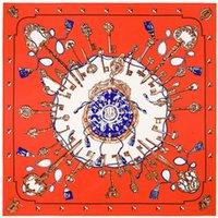 silk twill scarf - 100cm cm Twill Silk Women Silk Square Vintage Metal Key Chain Print Silk Scarf Femal High Quality Retro Brand H Shawl