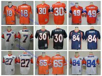 Wholesale 100 Stitiched high quality Denver jerseys Broncos Dennis Smith John Elway Terrell Davis Steve Atwater Peyton Manning Throwback JERSEYS