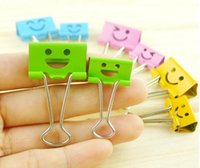 Wholesale Colorful smiling face binder clips Learning stationery Metal dovetail bill clips Filing Storage Binding clip office Supplies