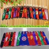 Wholesale Superhero cape cm Double layer Super Hero Costume for Children Halloween Party Costumes for Kids Children s Costume A