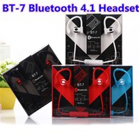 Wholesale BT BT7 Earphone Bluetooth Stereo Sport Earhook Earbuds Over Ear Wireless Neckband Bluetooth Headset Headphone with Mic for Cellphones