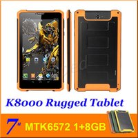 Wholesale Rugged tablet pc K8000 quot MTK6572 dual core GB GB G WCDMA Android WIFI GPS big battery Dustproof Outdoor Phablet DHL colors