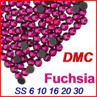 Wholesale Top High Grade SS6 Fuchsia DMC Hot fix Rhinestones Beads Jewelry Iron on For Women Wedding Clothes Dress DIY motifs