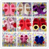 baby slipper patterns - Hot Sale newborn Baby Crochet Shoes Rose Flower Sun Flower Pattern Many Color Cotton baby girls slippers shoes