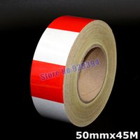 Wholesale mmx45M Red amp Silver Square Reflective Film Self adhesive PET Reflective Tape Sticker For Truck Car Motorcycle Warning Tape