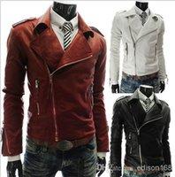 Wholesale 2015 New Men s Slim Lapel Slanting Zipper Leather Jacket coat overcoat High quality color M XL