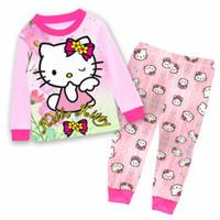 Wholesale Kids Clothing girl Hello Kitty pajamas New Cotton Cartoon Long Sleeve clothes trousers Pyjamas Suit boys girls pjama Children