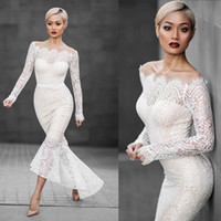 Wholesale New Sexy Women White Bodycon Bondage dress Fahsion Hollow Out Long Sleeve Lace Mermaid Strapless Wedding Dress Bridal Gown