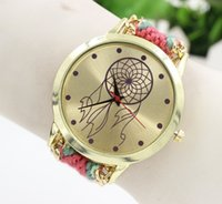 ball wrist watch - Women handmade Watches Bohemia weave wool rope watch ladies ball flower design Wrist watches bracelet chain dress quartz Casual watches
