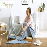 Wholesale knitted Mermaid Tail blanket Handmade children mermaid blanket Throw Bed Wrap super soft children swaddle sleeping blanket