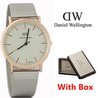 analog style boxes - With box New Couple Luxury Style DW Watches For Men Women Gift Stainless steel Strap Fashion Top Brand Quartz Wristwatches Clock Relojes