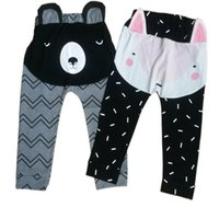 Wholesale 2016 New Autumn children baby boys girls pants d cartoon trousers fox bear stripe cotton haren pants infant jumpsuits