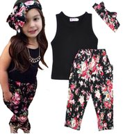 retail clothing - Retail Summer Flower Baby Girls Clothes Sets Black T shirt Flower Pants Headbands Children Set Floral Kids Girl Clothing Set