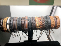 Wholesale 20pcs Vintage Mens Genuine Leather Surfer Bracelet Cuff Wristband Fashion Jewelry Gift Mixed Style Bracelet