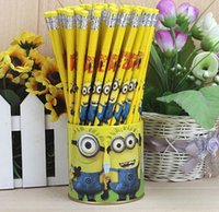 Wholesale 72pcs standard wooden HB pencils with eraser writing minions pencil stationary Rlapices Zpencils Elapiz N Lapices Painted Pencils Lapis