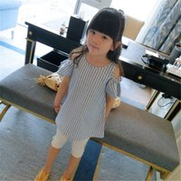 Wholesale 2016 Girls Off Shoulder Striped Dresses Kids Baby Summer Clothing Cotton Princess Dress Toddler Fashion Dress Girl Clothes Children Gifts