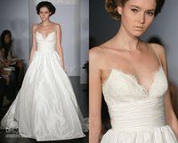 amsale wedding dress - Spaghetti strap V neck Lace Taffeta Chapel Train Ball Gown Wedding Dress Amsale