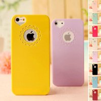 Wholesale Cute candy Color Loving Heart Flower Lace Hard Phone Case Cover For iphone